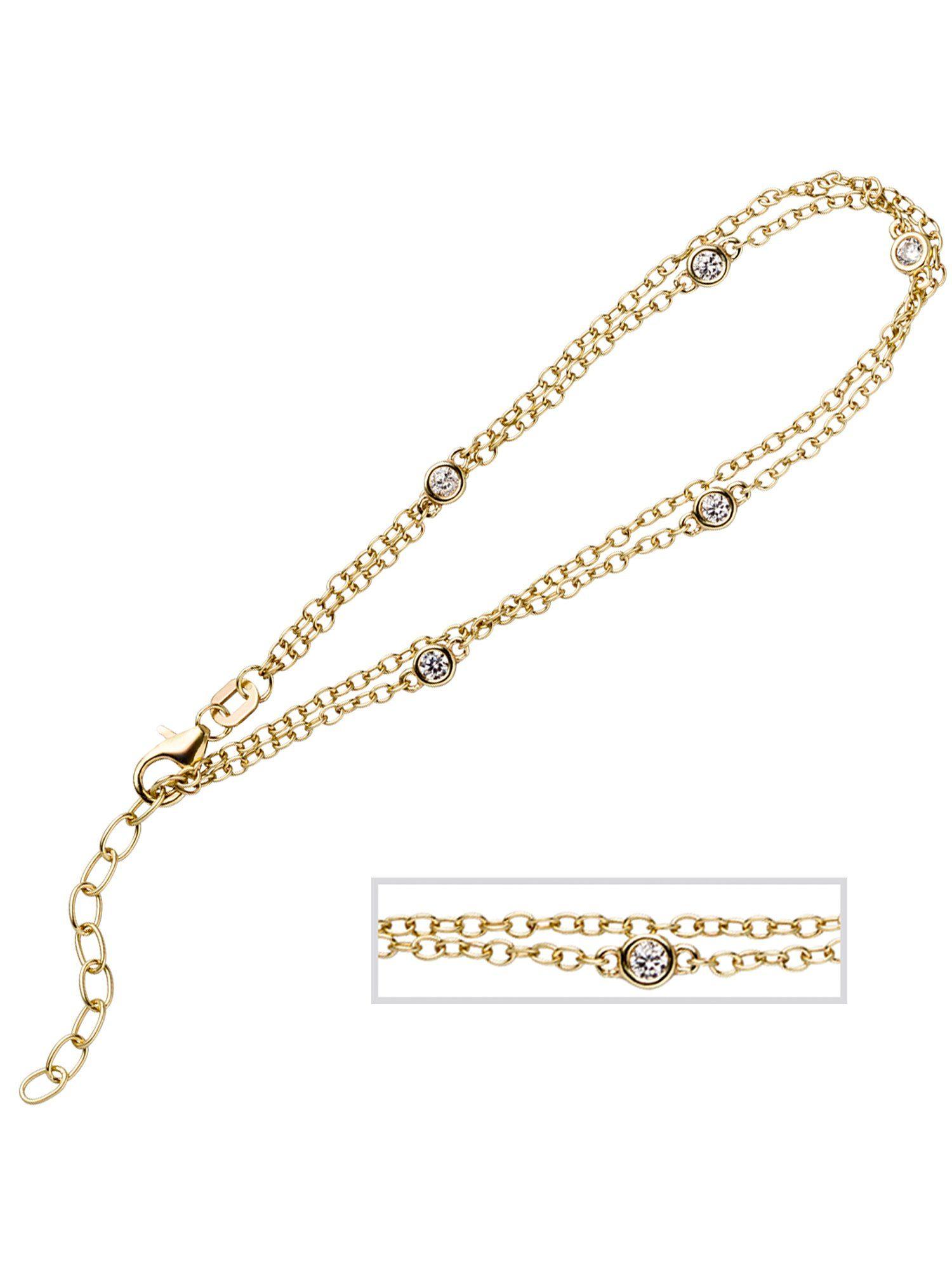 Adelia´s Armband 925 Silber mit Zirkonia L - 21 cm