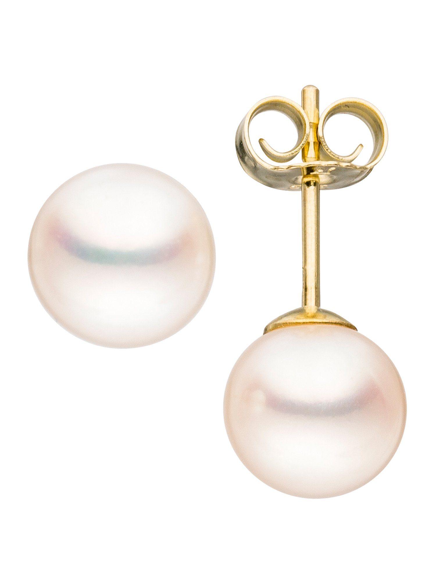 Adelia´s Paar Ohrstecker 585 Gold mit Süßwasser - Zuchtperle Ø 7,00 mm