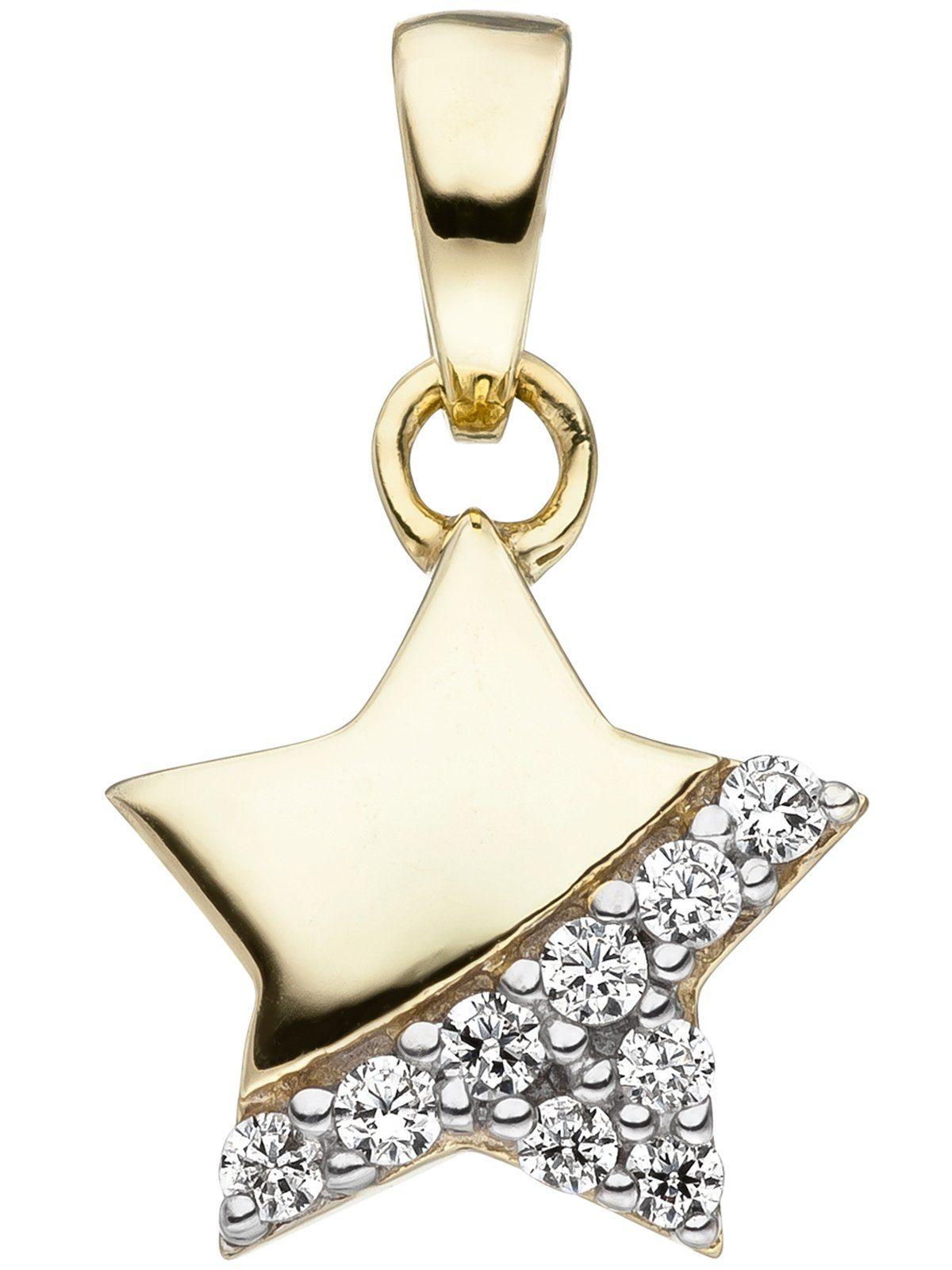 Adelia´s Kettenanhänger »Stern Anhänger« 375 Gold mit Zirkonia