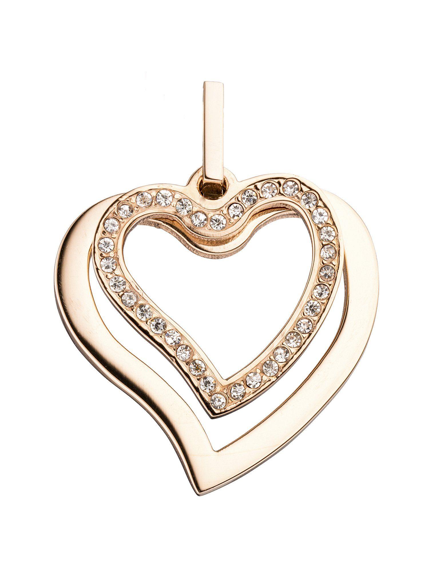 Adelia´s Kettenanhänger »Herz Anhänger« Edelstahl mit Zirkonia