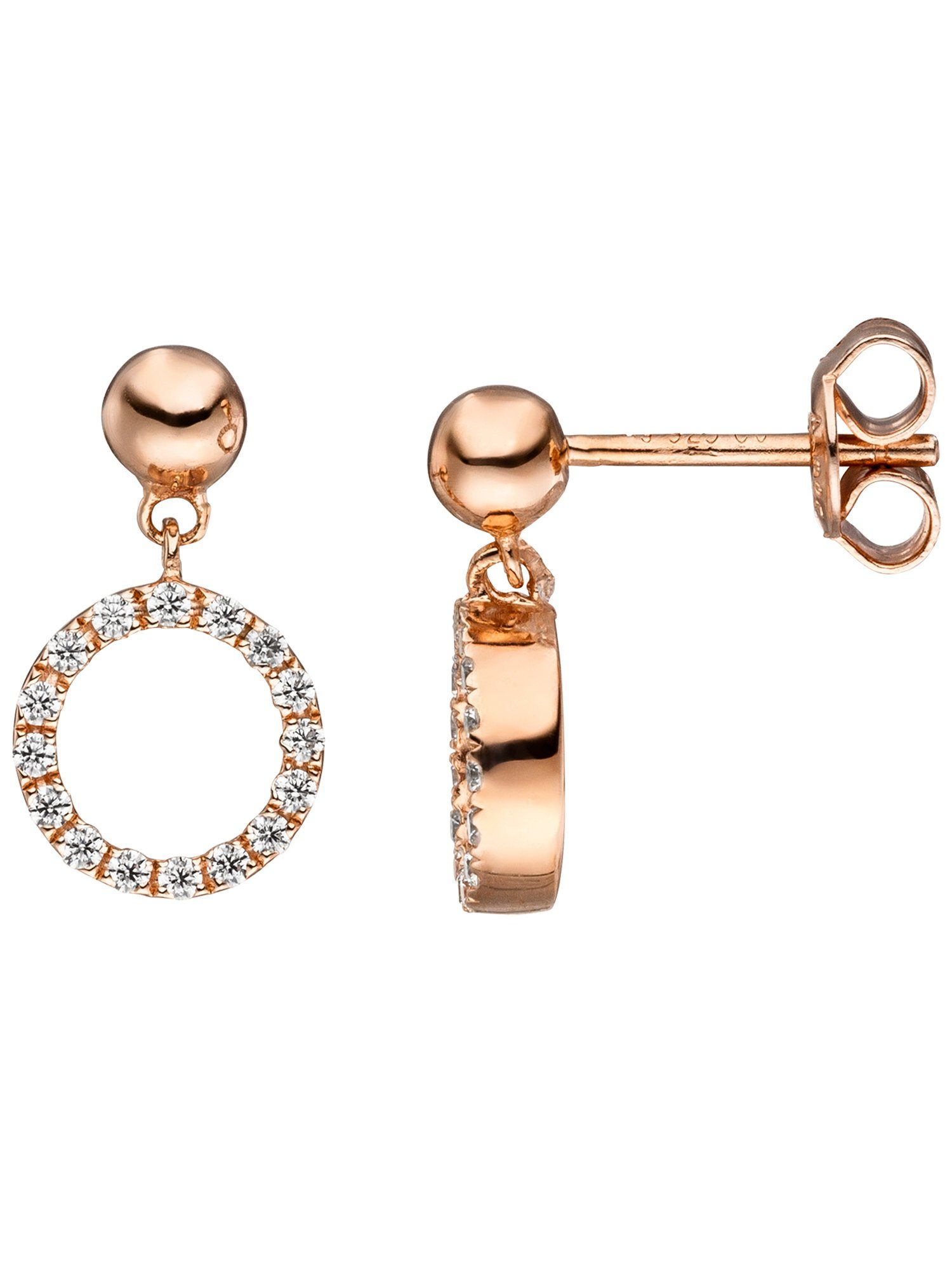 Adelia´s Paar Ohrhänger, 925 Silber mit Zirkonia