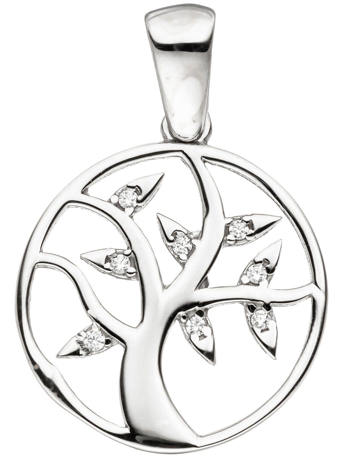 Adelia´s Kettenanhänger »Lebensbaum Anhänger« 925 Silber mit Zirkonia Ø 17,40 mm