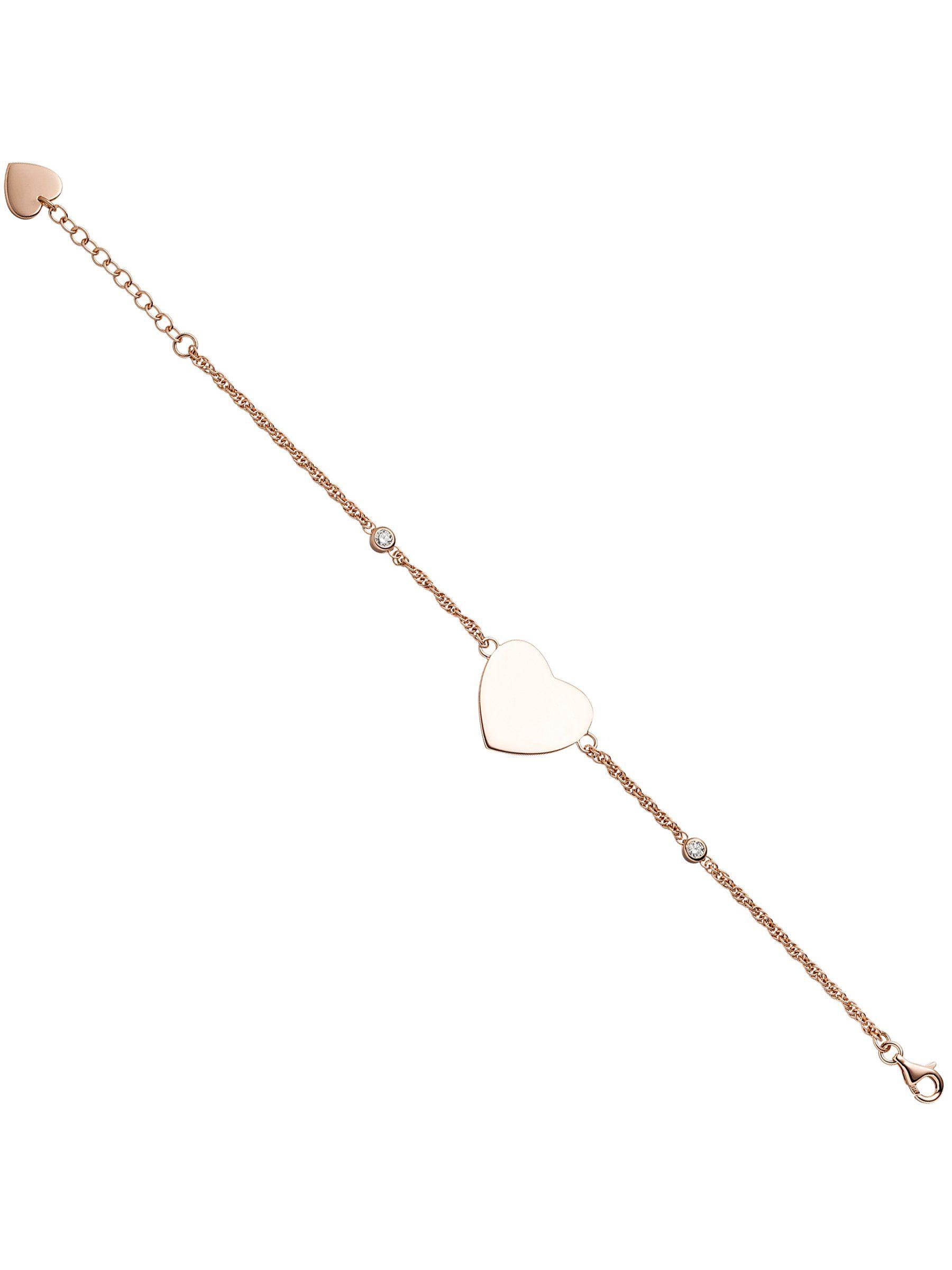 Adelia´s Armband »Herzen« 925 Silber mit Zirkonia L - 22 cm