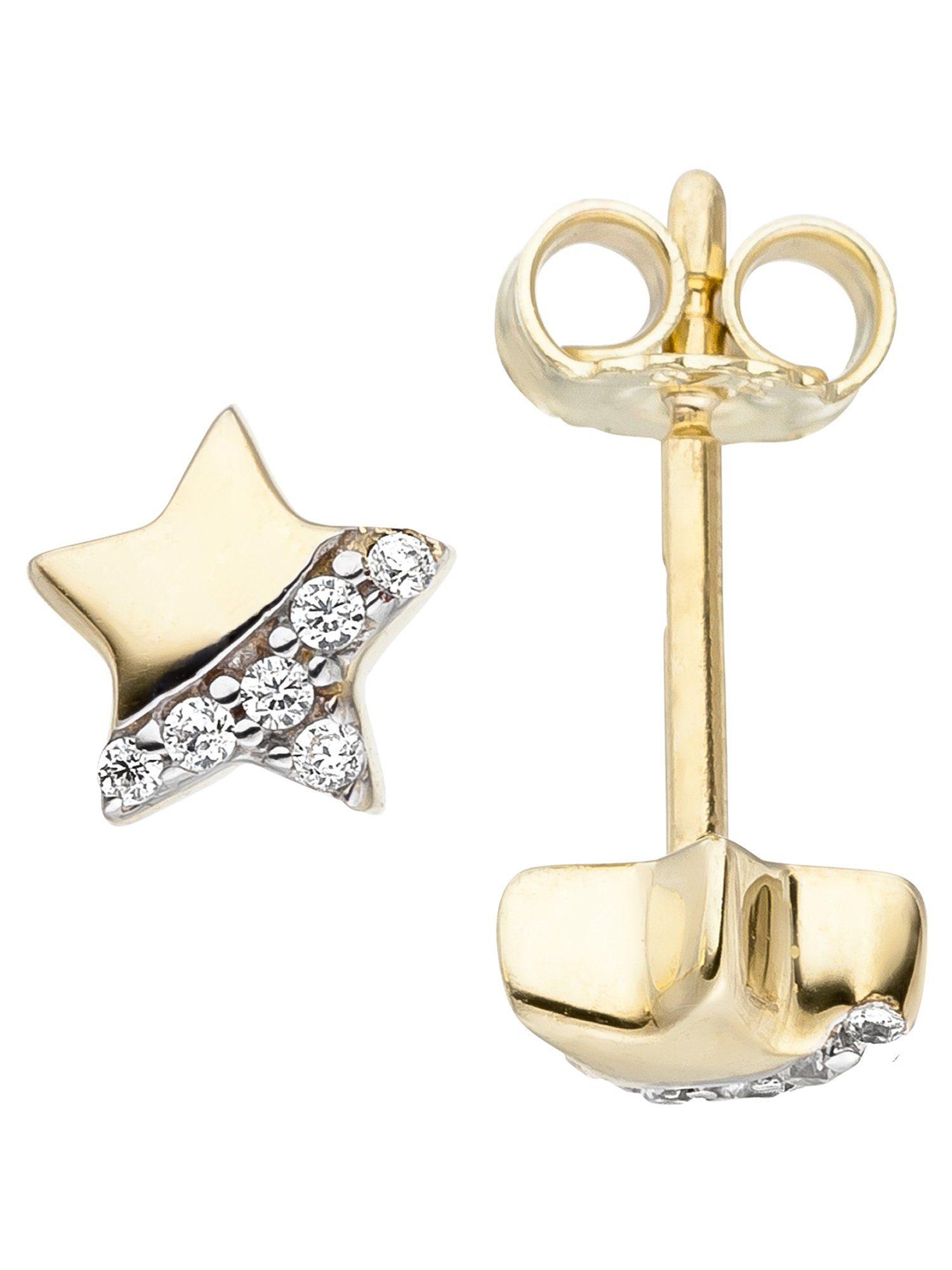 Adelia´s Paar Ohrstecker »Stern«, 375 Gold mit Zirkonia