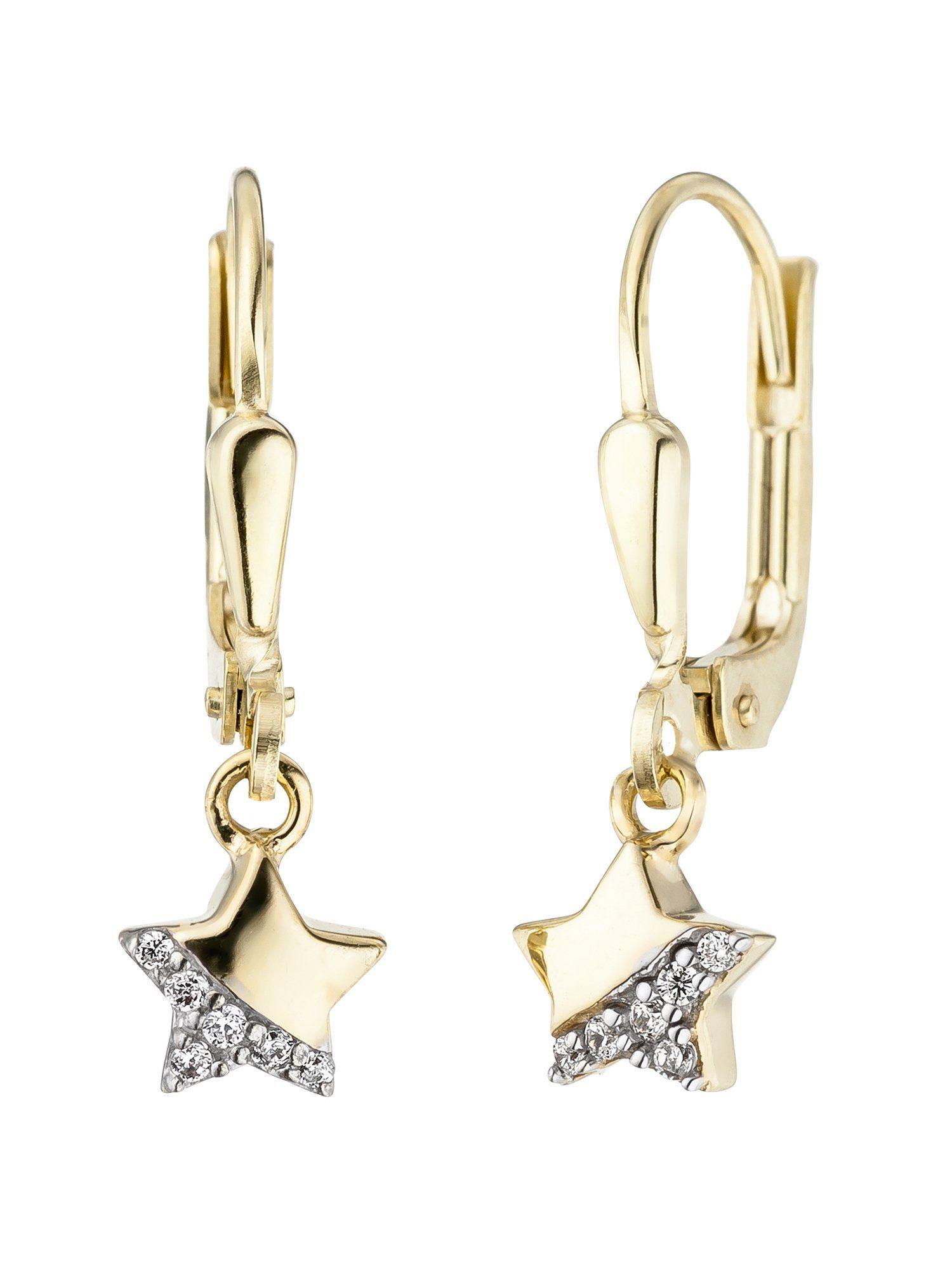 Adelia´s Paar Ohrhänger »Stern« 375 Gold mit Zirkonia