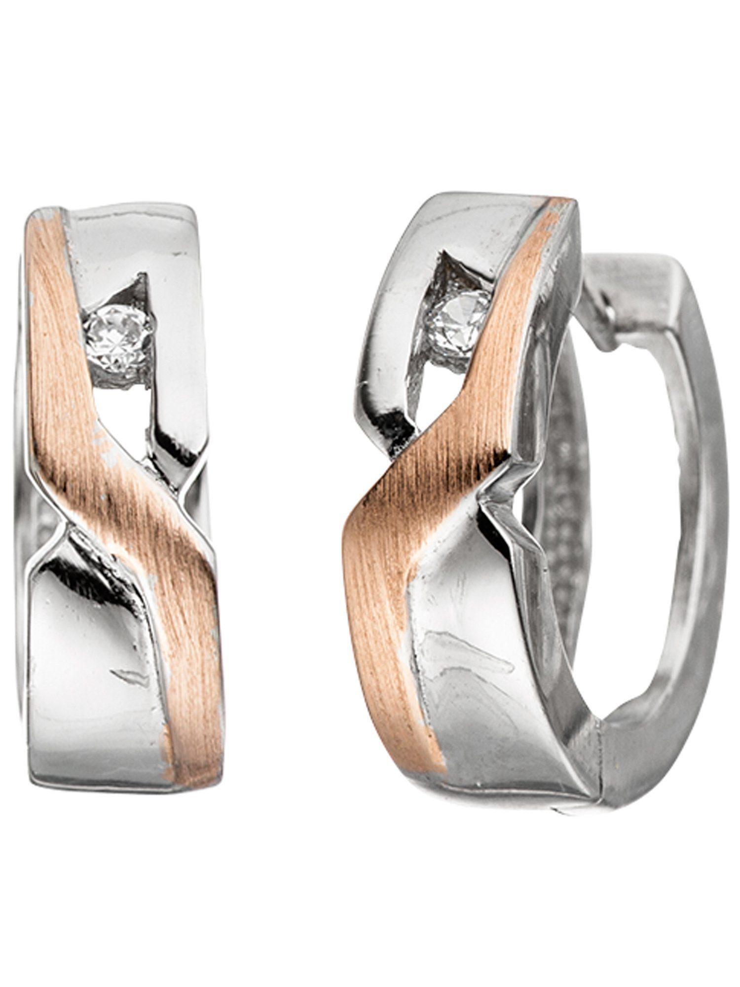 Adelia´s Paar Creolen, 925 Silber mit Zirkonia Ø 13,10 mm