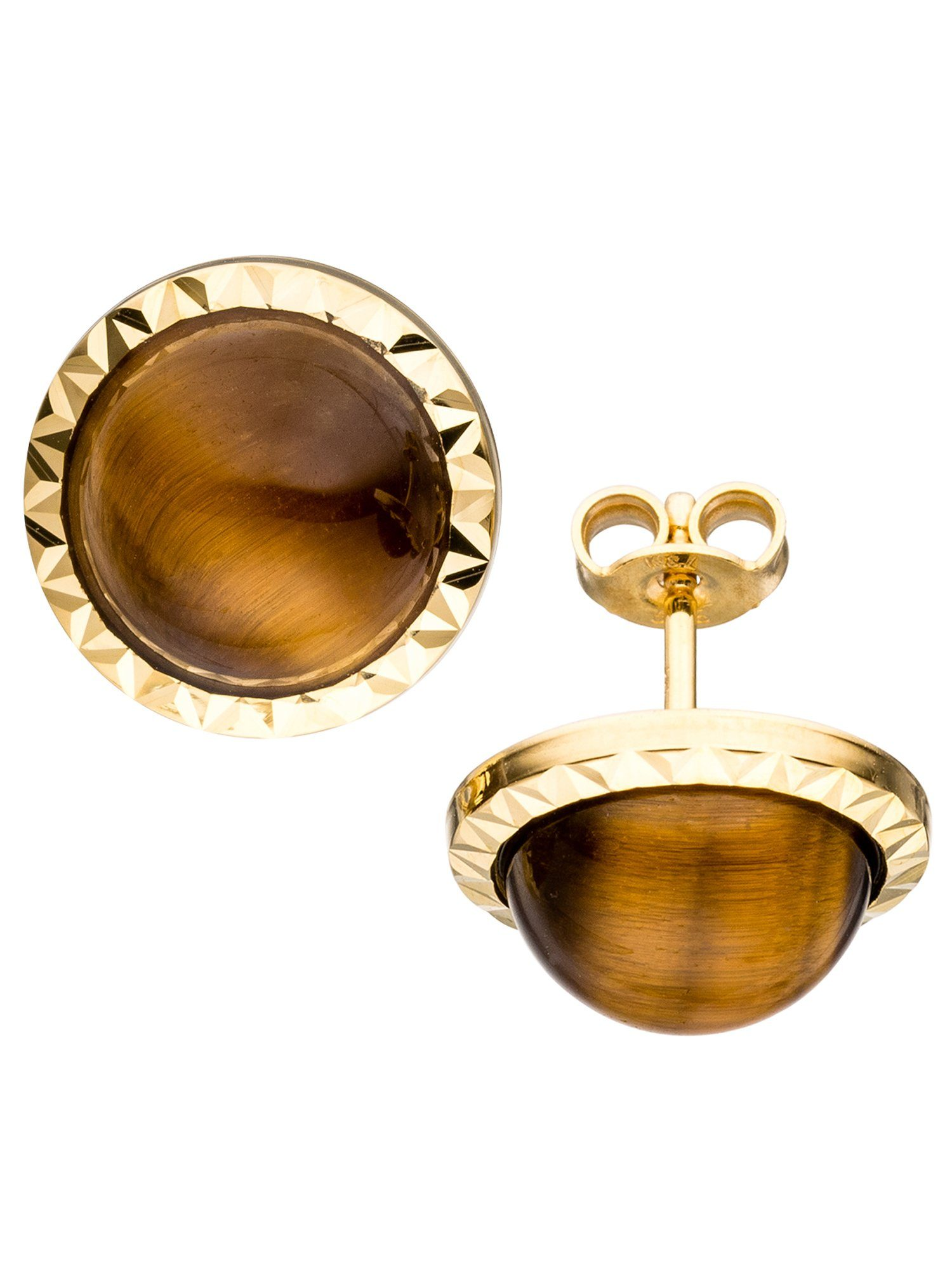 Adelia´s Paar Ohrstecker, 585 Gold mit Tigerauge