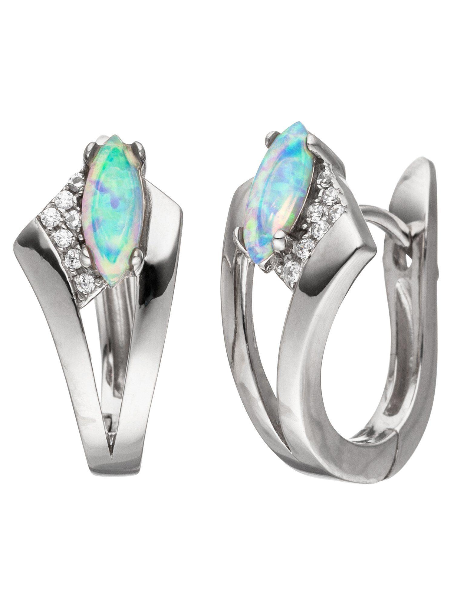 Adelia´s Paar Creolen 925 Silber mit Opal Zirkonia
