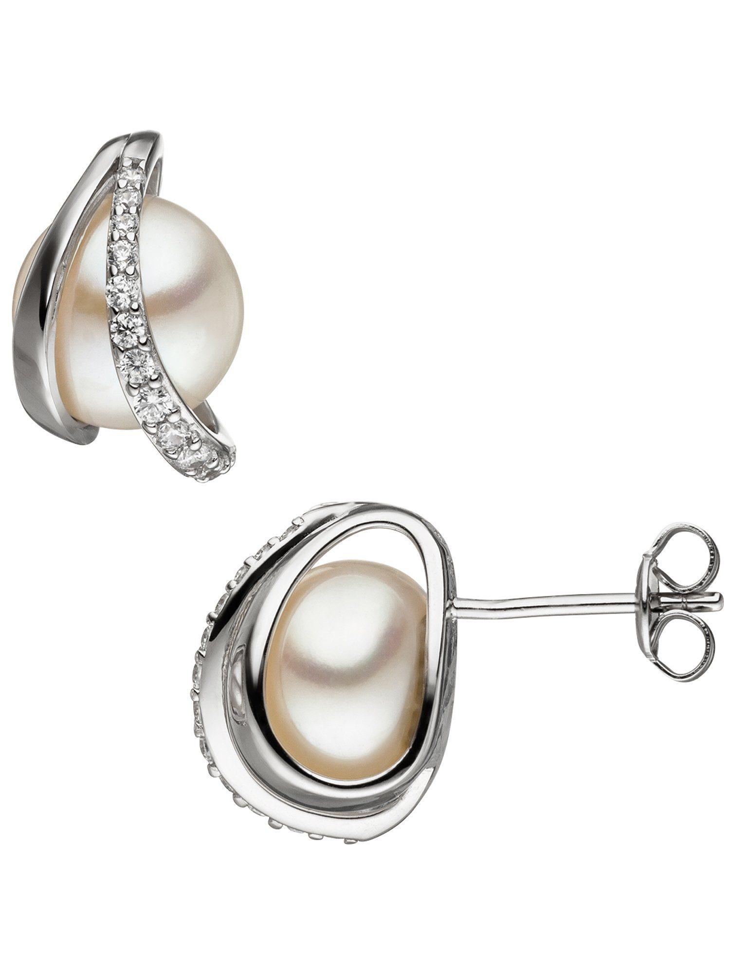 Adelia´s Paar Ohrstecker 925 Silber mit Zirkonia mit Süßwasser - Zuchtperle