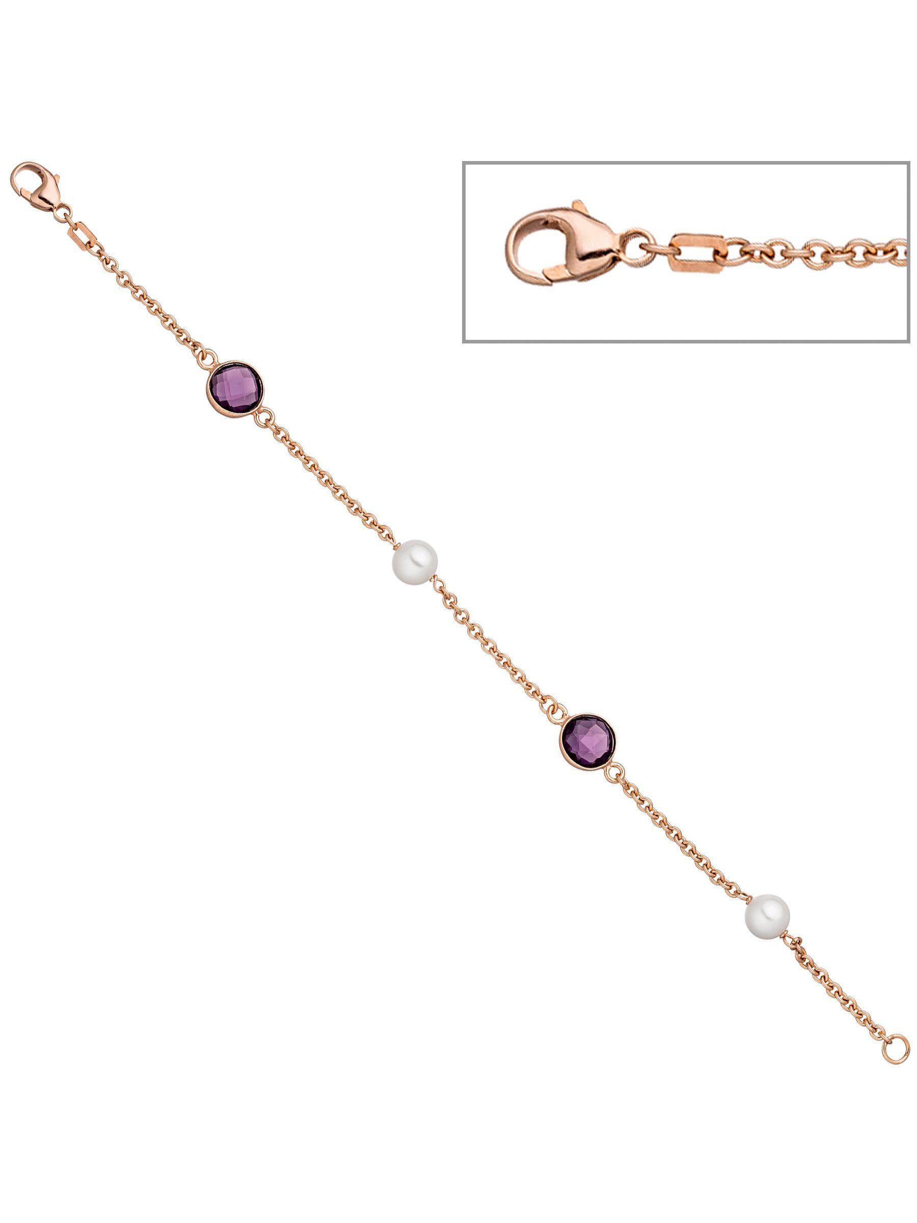 Adelia´s Armband 925 Silber mit Quarz mit Süßwasser - Zuchtperle L - 19 cm