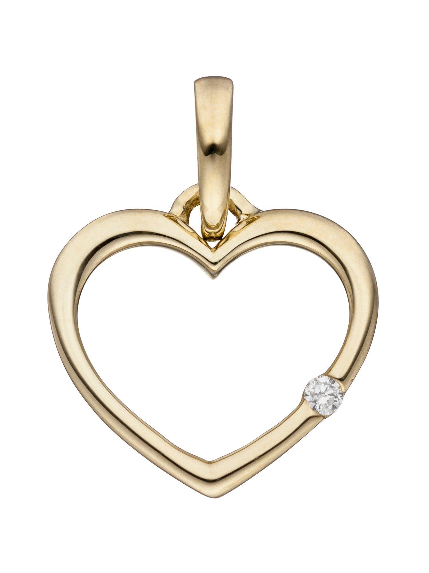 Adelia´s Kettenanhänger »Herz Anhänger«, 333 Gold mit Diamant