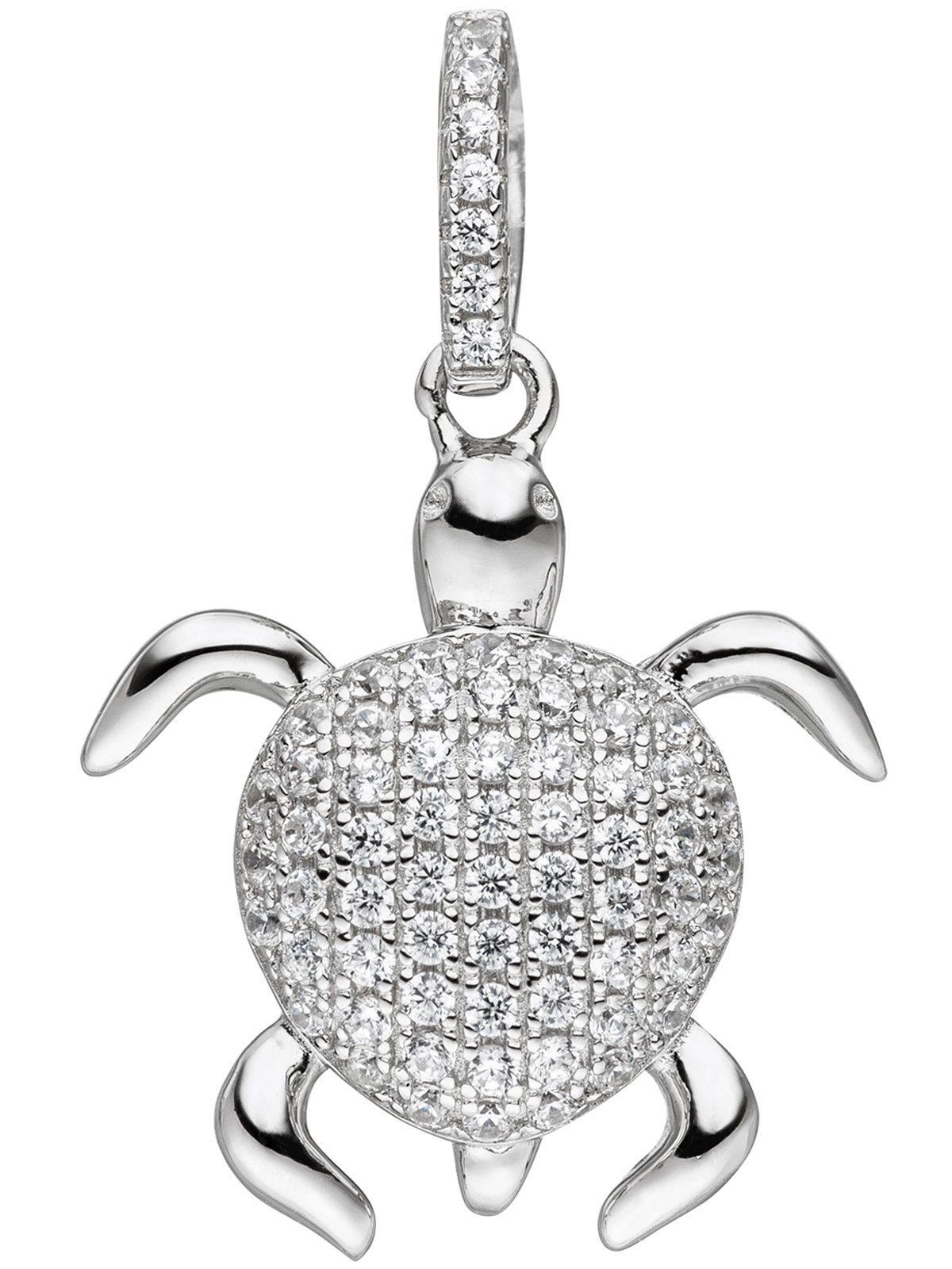 Adelia´s Kettenanhänger »Schildkröte Anhänger«, 925 Silber mit Zirkonia