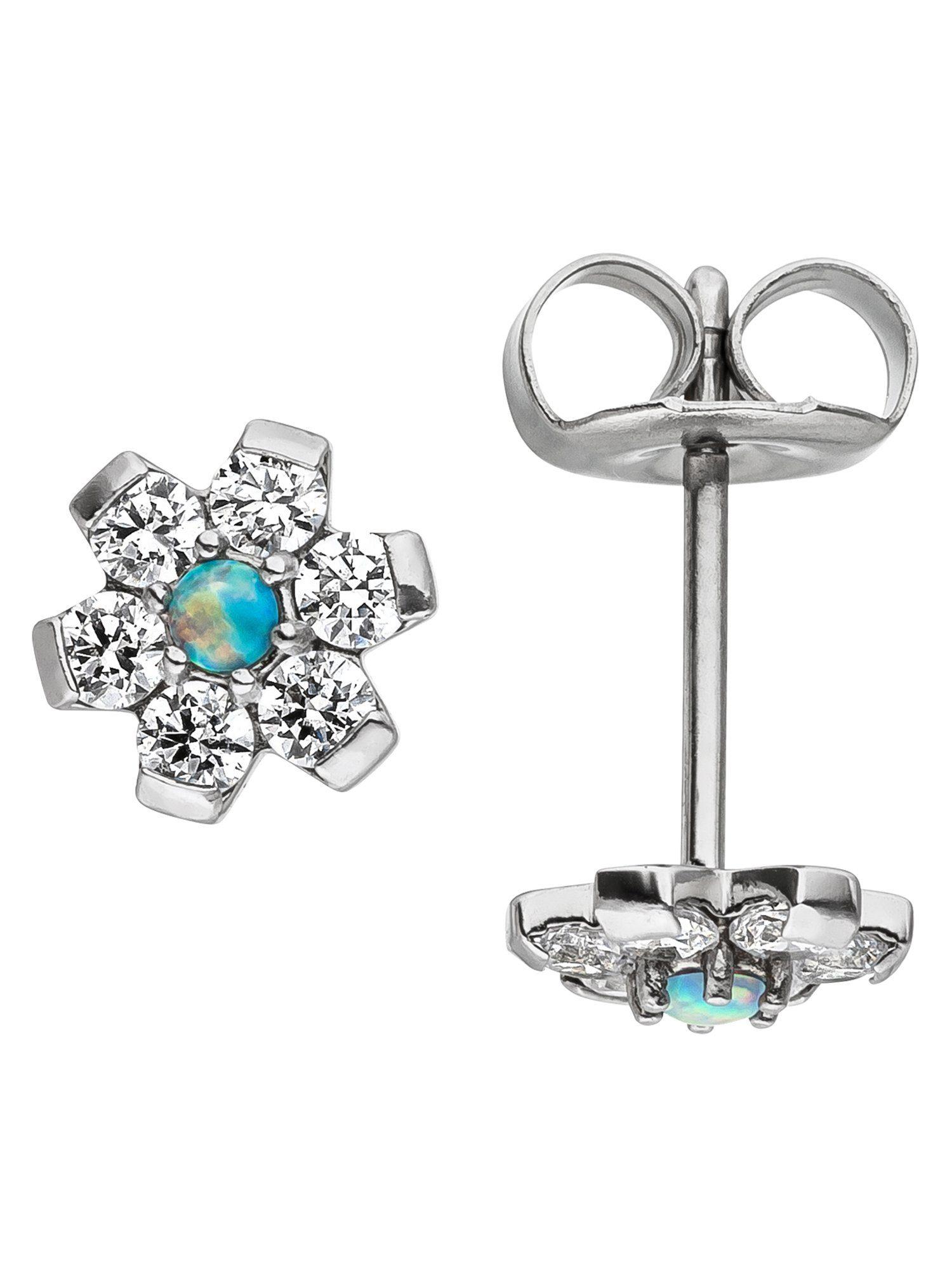 Adelia´s Paar Ohrstecker »Blume« Edelstahl mit Swarovski Kristall