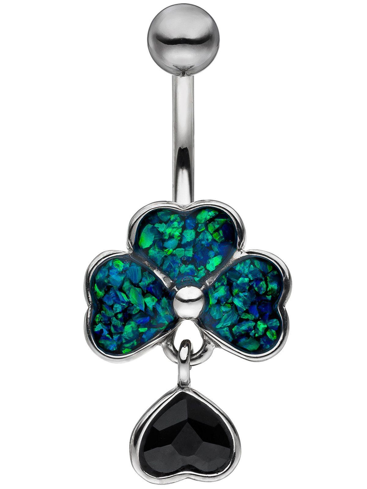 Adelia´s Bauchnabelpiercing Edelstahl mit Opal Swarovski Kristall