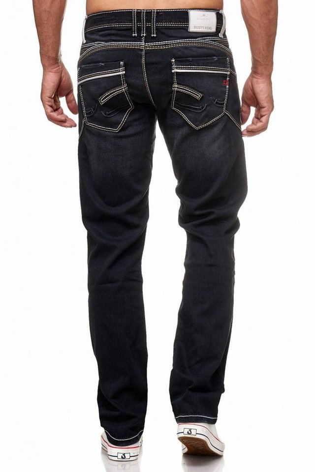 d54ab5aee3461a Rusty Neal Jeans mit farblich abgesetzten Nähten, In Regular Fit ...