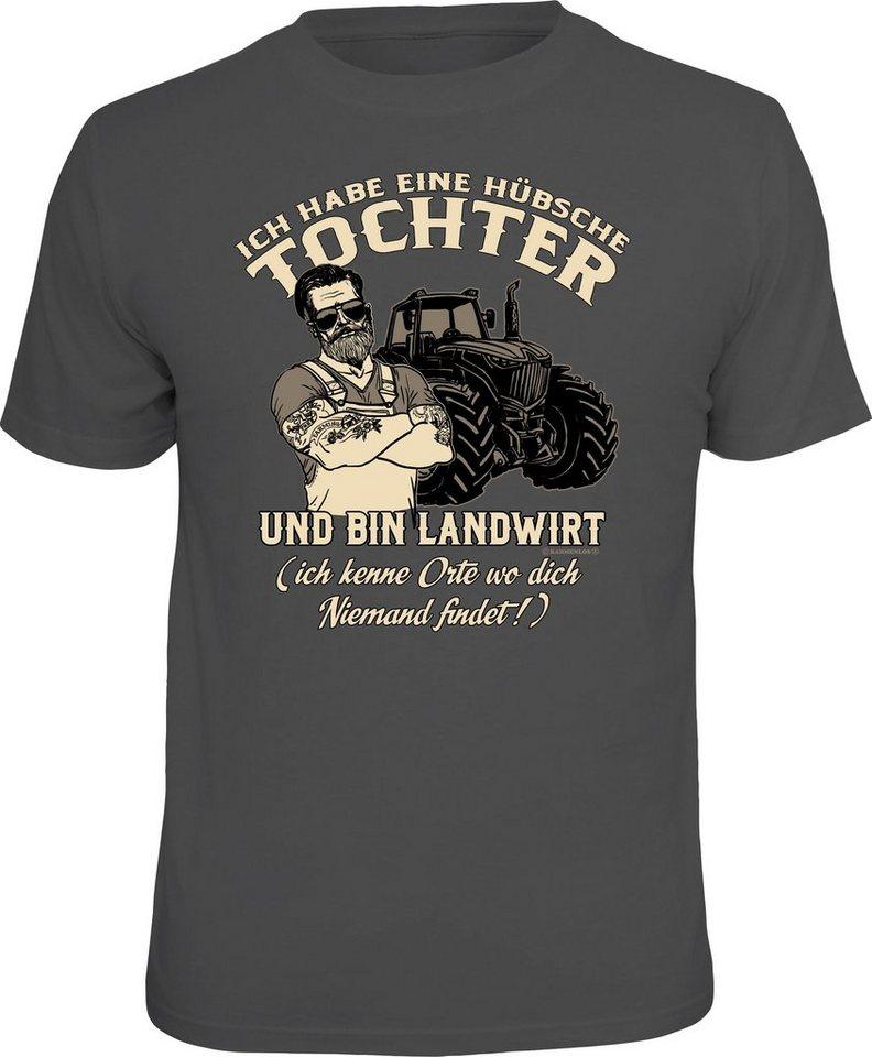 Herren Rahmenlos T-Shirt mit lustigem Print für Landwirte grau | 04052743964619
