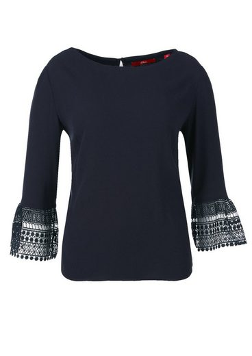 s.Oliver RED LABEL T-Shirt mit Häkelspitze