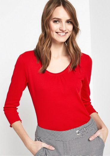 COMMA Feines 3/4-Arm Shirt mit Fältchenverzierungen