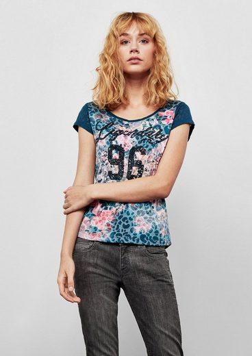 Q/S designed by Ausbrenner-Shirt mit Pailletten