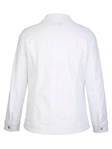MIAMODA Jeansjacke mit Dekosteinen und Stickereien vorne