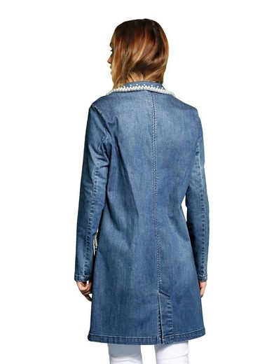 Alba Moda Jeansmantel mit Zierperlen-Applikation