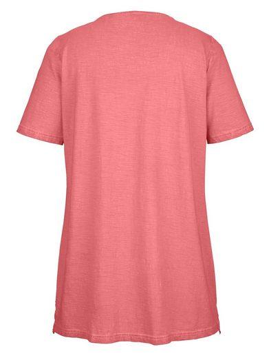 MIAMODA Longshirt mit Spitzenbordüre am Saum