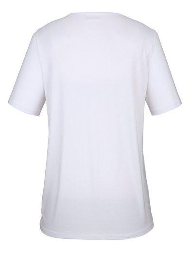 MIAMODA Shirt vorne mit schimmerndem Herzmotiv