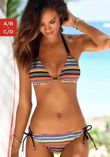 Bruno Banani Triangel-Bikini mit tropischem Streifenmuster