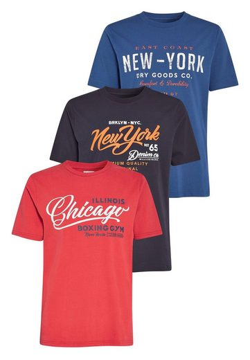 Next T-shirts Parts With Graphic-print, 3-pack 3