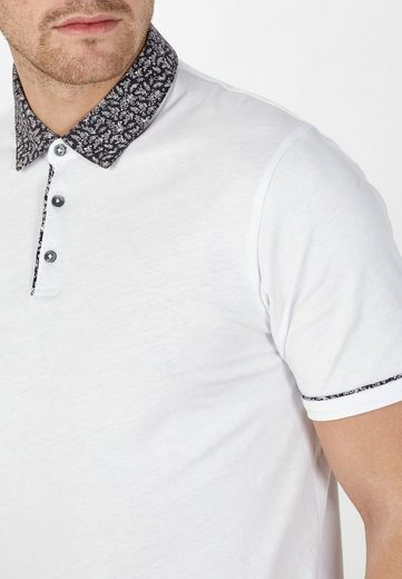 Next Poloshirt mit Webstoffkragen