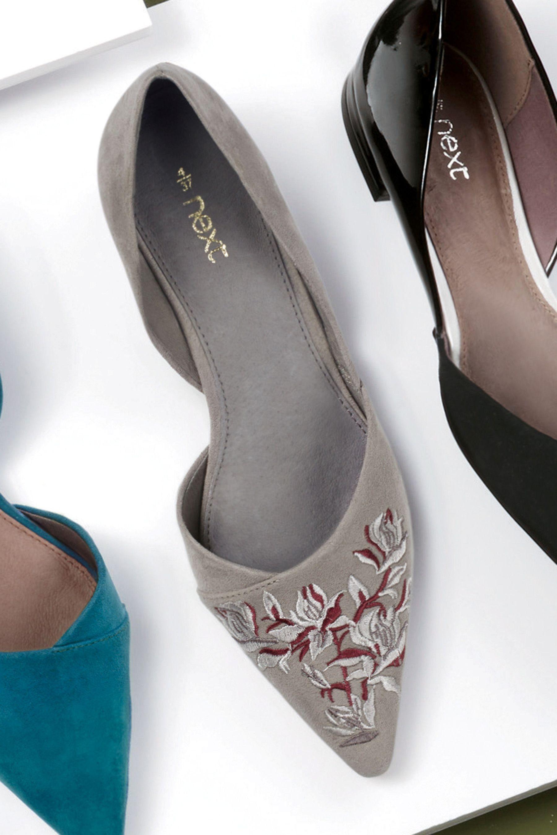 Next Zweiteilige, spitz zulaufende Schuhe kaufen  Grey Embroidered