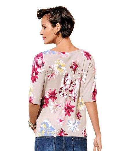 Alba Moda Strickjacke mit exklusivem Schmetterlings-und Blumendruck