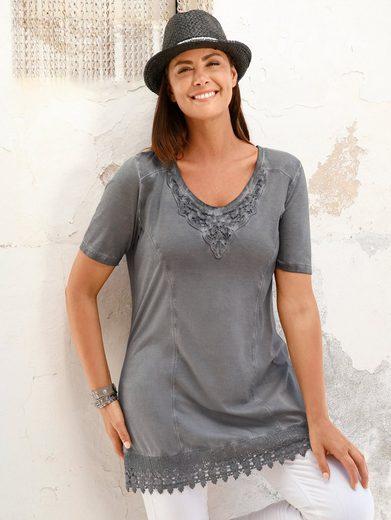 Miamoda Long Shirt With Crochet Lace