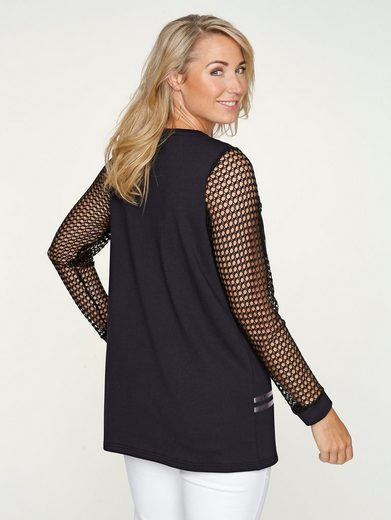 MIAMODA Sweatshirt mit transparentem Netz-Stoff
