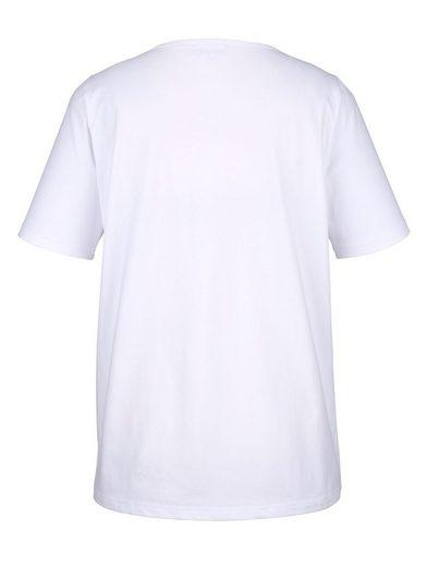 MIAMODA Shirt mit Herz-Glitzerdruck vorne