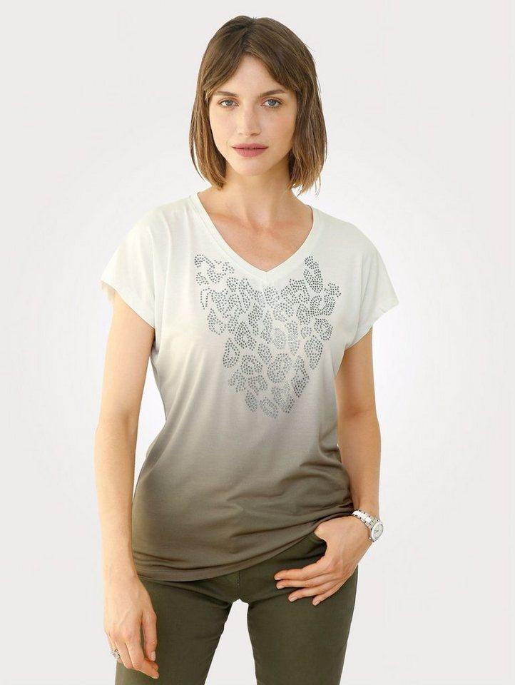 Damen Mona Shirt mit Strassstein-Deko grün   04055716366946