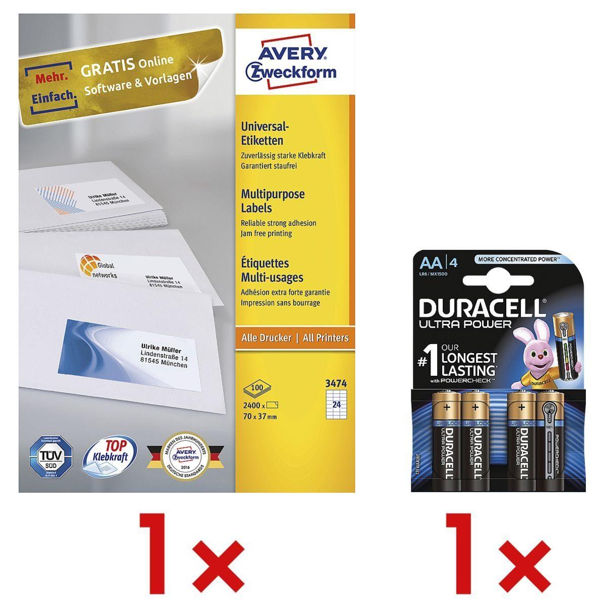 Avery Zweckform 2400er-Pack Universal Klebeetiketten inkl. Batterien »3474« 1 Set