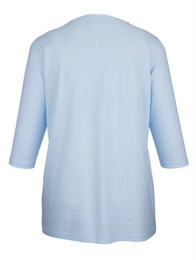 MIAMODA Shirt mit Dekosteinen am Ausschnitt