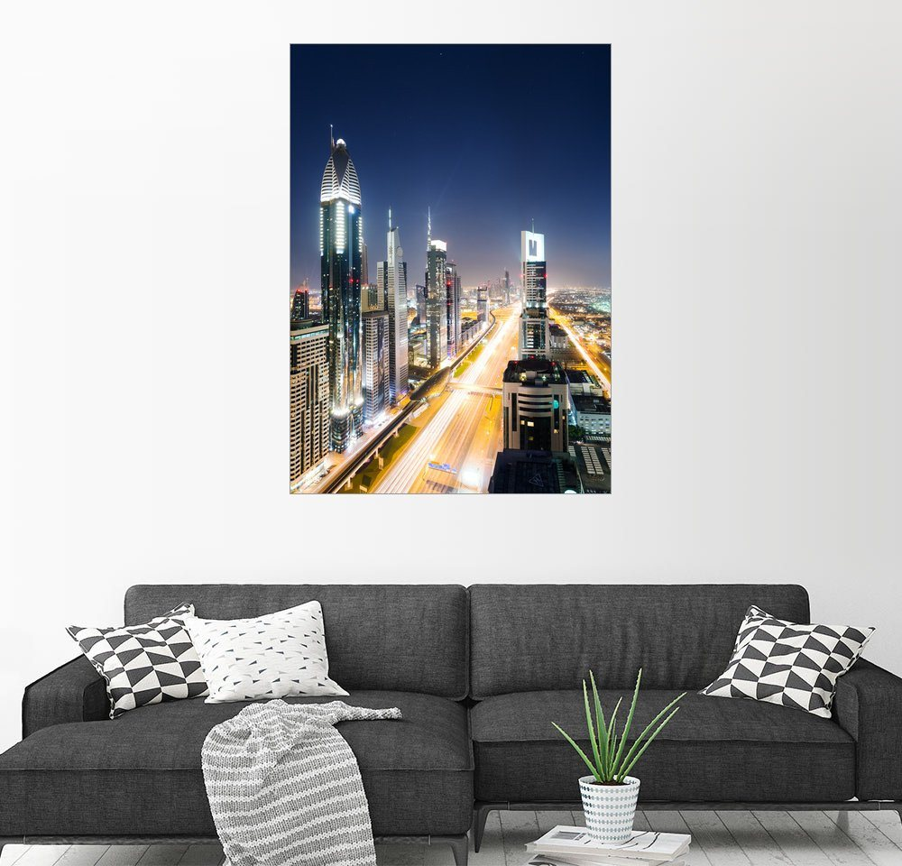Wandbild - Matteo Colombo »Dubai Skyline bei Nacht, Vereinigte Arabische...«