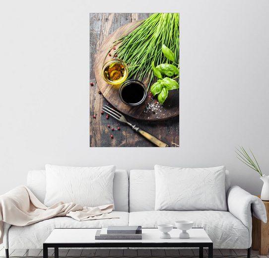 Posterlounge Wandbild »Kräuter und Gewürze auf Holzbrett«