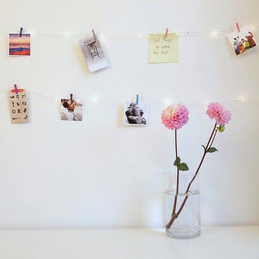 Kikkerland Lichterkette »Lichterkette mit 20 LEDs & 10 Miniklammern«