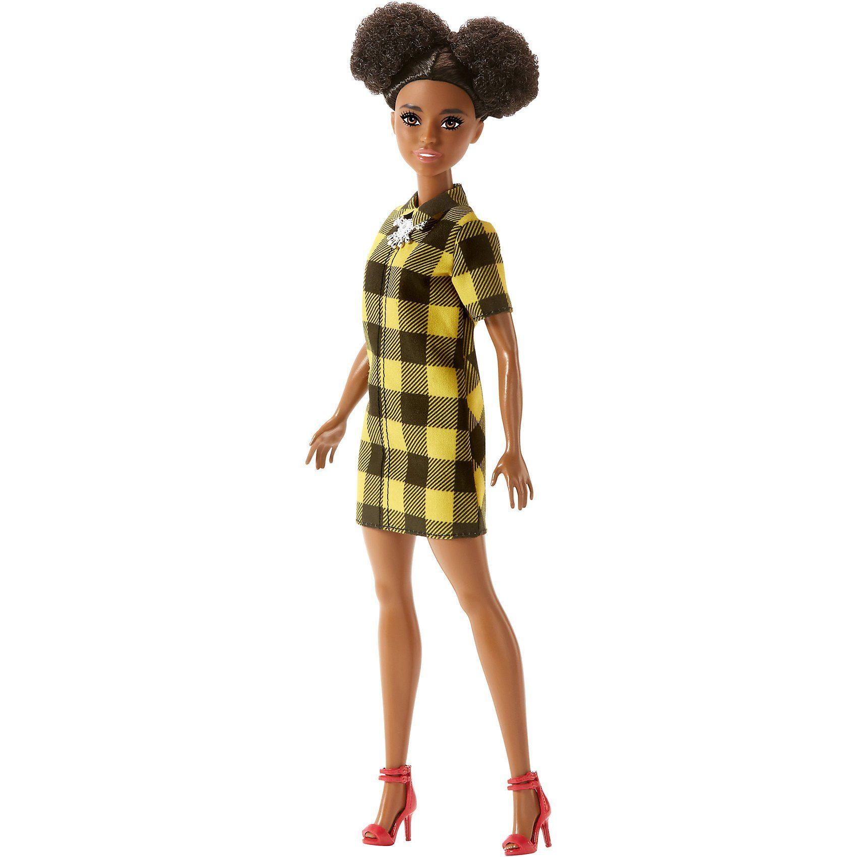 Mattel® Barbie Fashionista Puppe im gelb-schwarzen Karo Hemdkleid