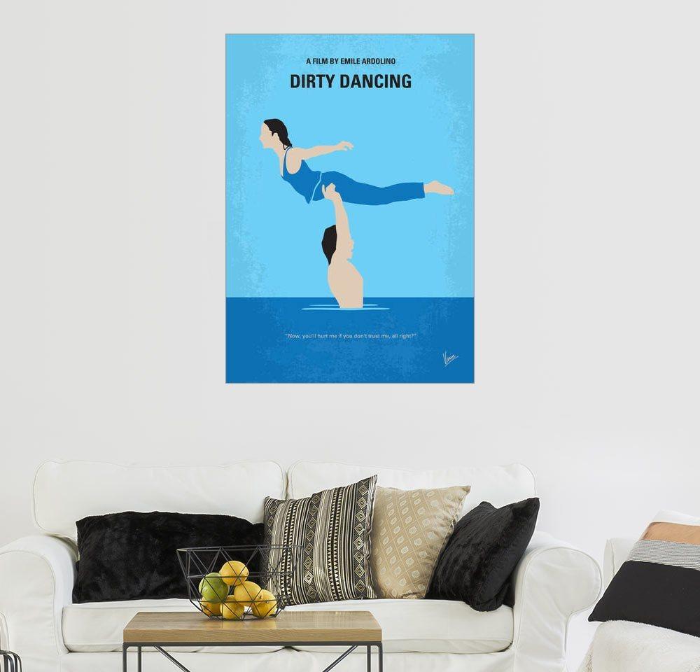 Posterlounge Wandbild - chungkong »No298 My Dirty Dancing minimal movie poster«   Dekoration   Blau   Holz   Posterlounge
