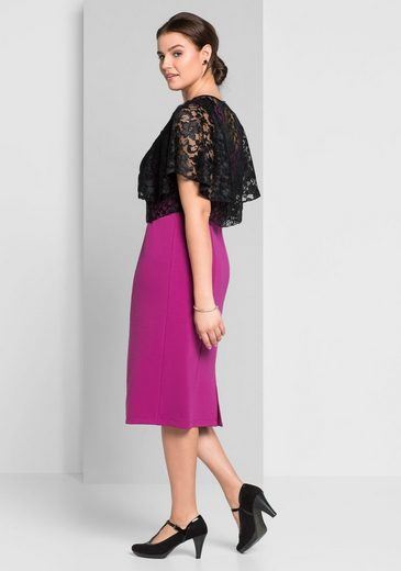 sheego Style Abendkleid, 2-teilig mit Spitzenoberteil