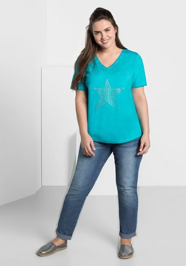 Sheego Casual T-shirt, A Unikat In Oil-washed Oprik, Each Part