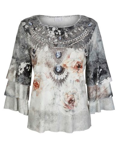 Alba Moda Shirt mit exklusiven Druck und Volants an den Ärmeln