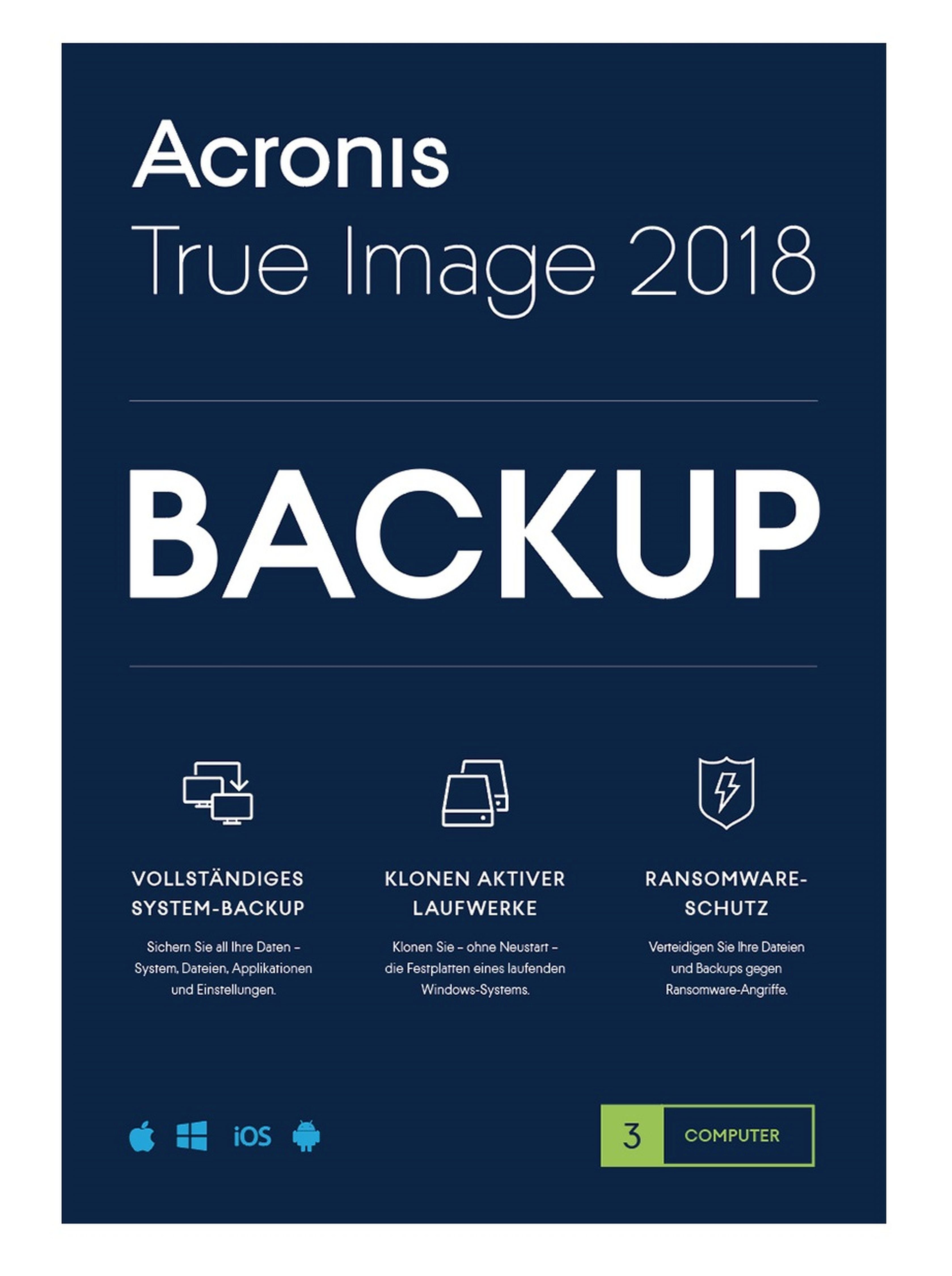 Acronis True Image 2018 »Mac, Windows, iOS, Android Backup-Software«