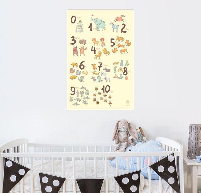 Posterlounge Wandbild - Petit Griffin »Zoological Zahlen für Kindergärten« | Dekoration > Bilder und Rahmen > Bilder | Weiß | Posterlounge