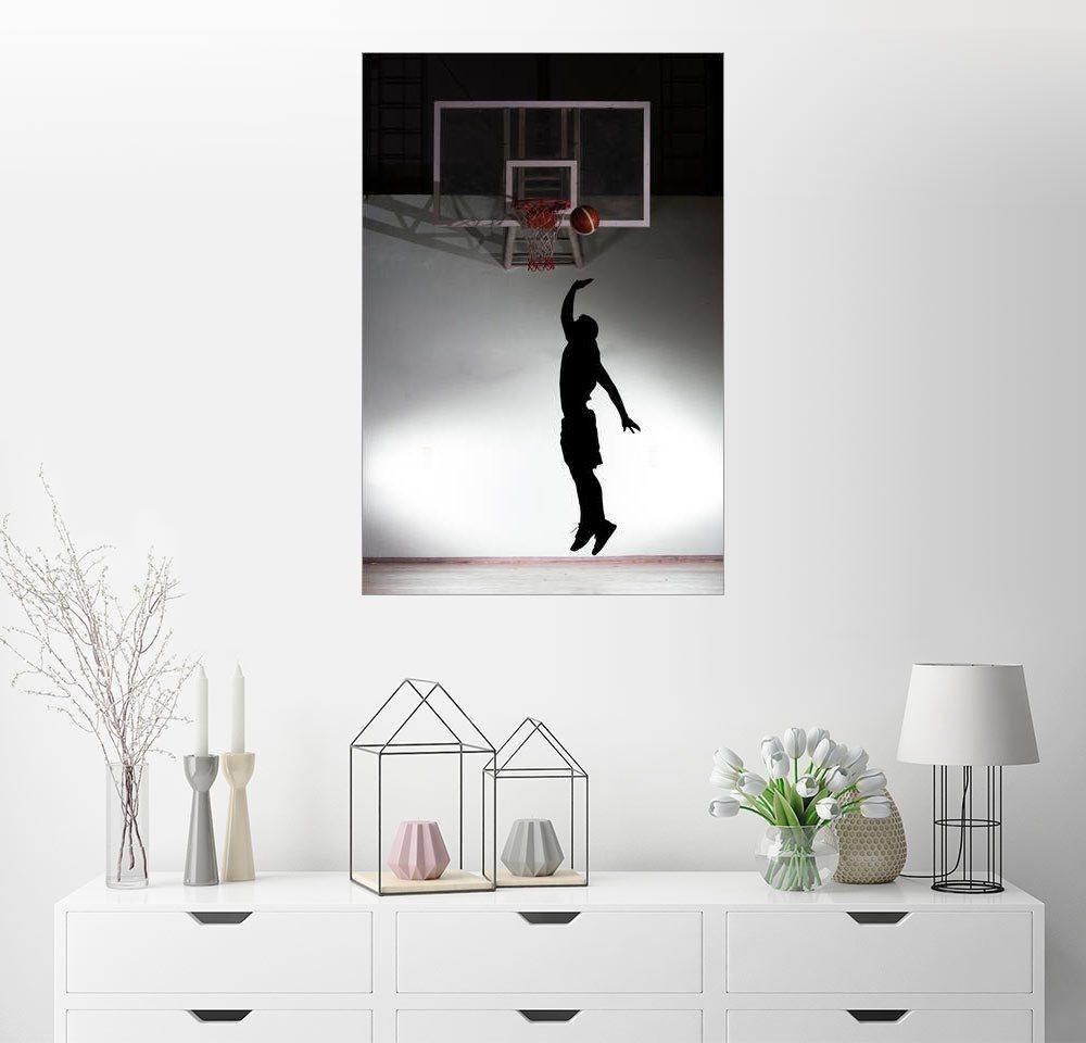 Posterlounge Wandbild Silhouette eines Basketballers bunt,mehrfarbig | 04053824155254