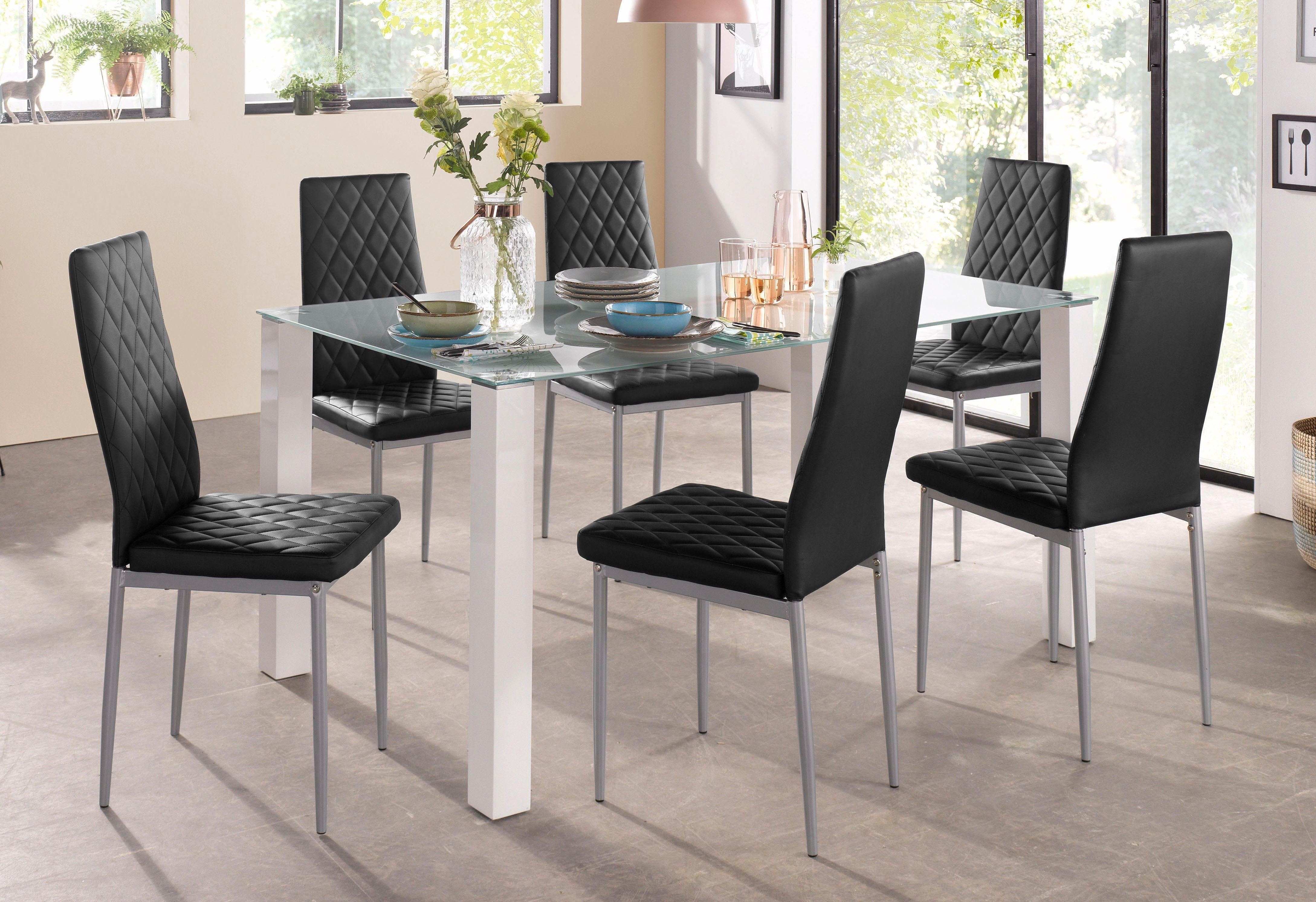 Essgruppe 5-teilig mit Glastisch, Breite 160 cm | Wohnzimmer > Tische > Glastische